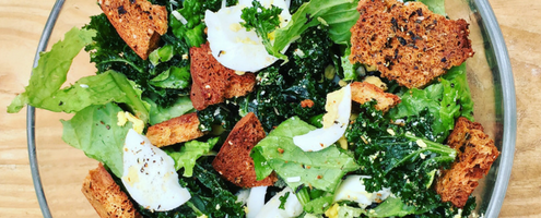 Raw Kale Caesar with Homemade Caesar Dressing